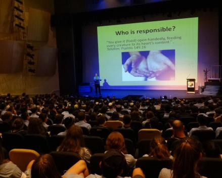 Over 800 students listened to the Chametz Drive presentation in March 2013 at four different schools